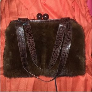 EUC Nancy Gonzalez Mink/crocodile handbag